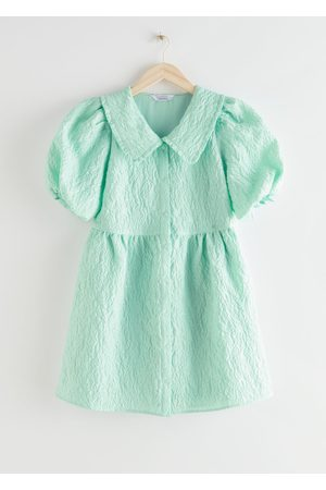 & OTHER STORIES Buttoned Puff Sleeve Jacquard Mini Dress - Turquoise