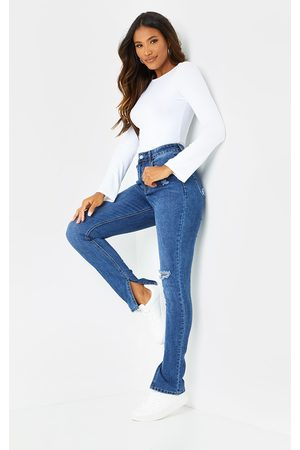 PRETTYLITTLETHING Women Skinny - Dark Wash Long Leg Split Hem Skinny Jeans