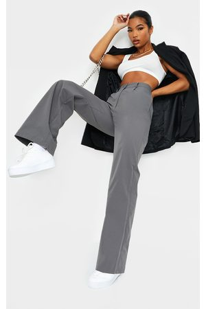 PRETTYLITTLETHING Charcoal Peach Skin Straight Leg Pants