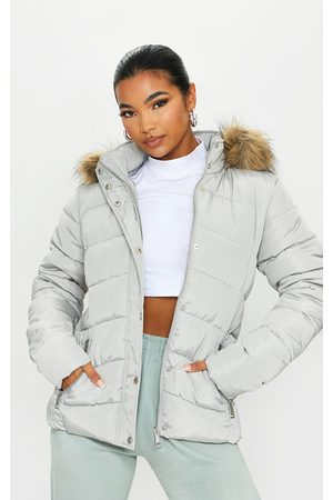 PRETTYLITTLETHING Grey Quilted Mara Faux Fur Hooded Puffer Jacket