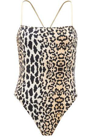 Reina Olga Chloe Square-neck Leopard-print Swimsuit - Womens - Leopard
