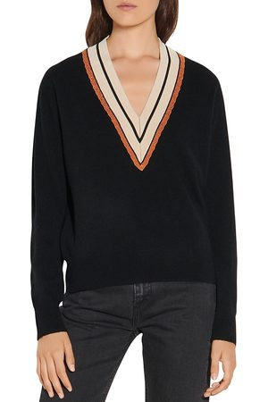 Sandro Colle Striped Neck Wool & Cashmere Sweater