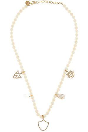 JADE JAGGER Diamond, Gemstone & Pearl 18kt Gold Charm Necklace - Womens - Pearl