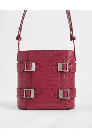 CHARLES & KEITH Croc-Effect Buckle Bucket Bag