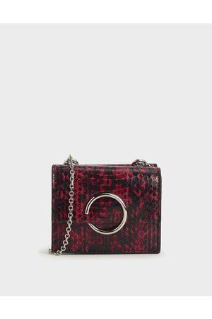 CHARLES & KEITH Women Wallets - Snake Print Ring Detail Short Wallet