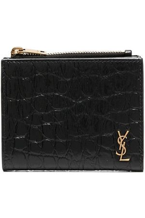 Saint Laurent Monogram crocodile-embossed compact wallet