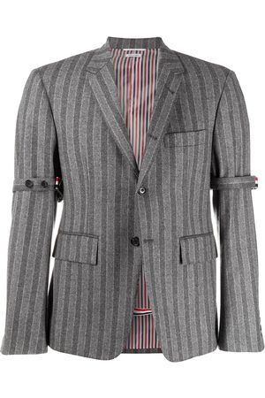Thom Browne Chalk-stripe armband jacket - Grey