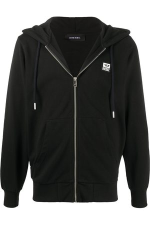 Diesel Zip-up logo patch hoodie