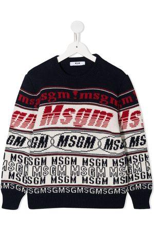 Msgm Girls Sweaters - Striped logo jumper