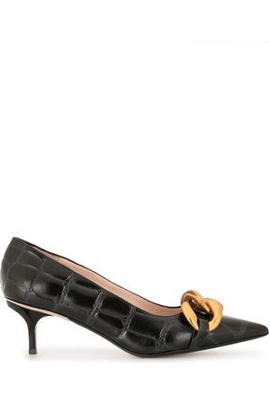 Nº21 Chunky Chain-Embellished Crocodile-Effect Kitten Heel Pumps