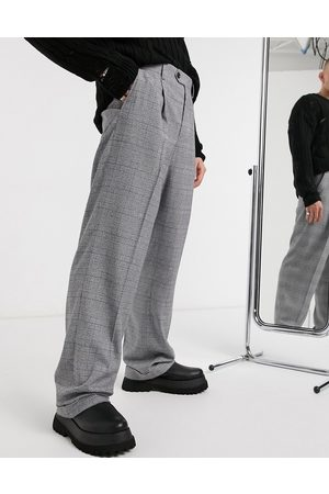 ASOS Wide leg elegant pants in plaid with cuff