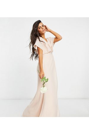 ASOS ASOS DESIGN Petite Bridesmaid short sleeved cowl front maxi dress with button back detail