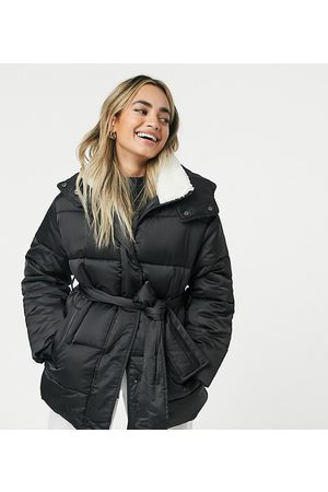 ASOS ASOS DESIGN Petite sateen belted puffer jacket with shearling collar in black-Stone