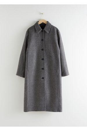 & OTHER STORIES Women Coats - Houndstooth Wool Blend Long Coat
