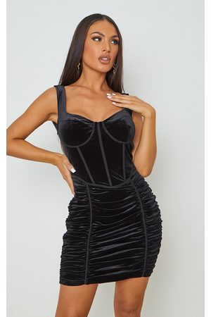 PRETTYLITTLETHING Velvet Corset Ruched Binding Detail Bodycon Dress