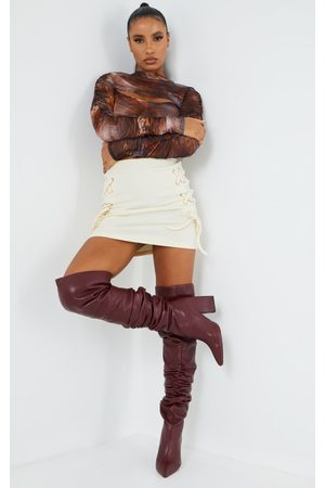 PRETTYLITTLETHING Burgundy Western Slouch Over The Knee Boots