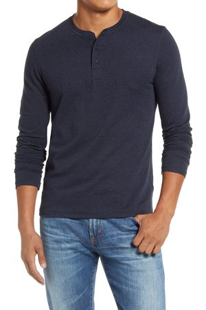 BILLY REID Men's Herringbone Terry Long Sleeve Henley T-Shirt