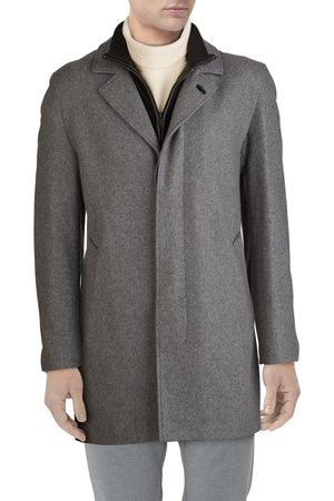 Cole Haan Men's Wool Blend Topcoat With Inset Knit Bib
