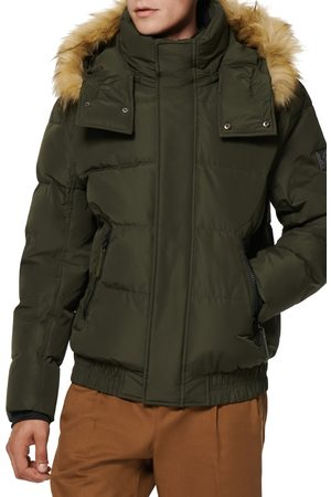 Marc Jacobs Men's Umbra Faux Fur Trim Quilted Jacket