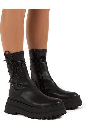 Public Desire US Finale Wide Fit Chunky Sole Ankle Wrap Boots - US 5