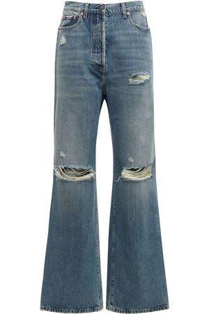 Gucci Destroyed High Waist Cotton Denim Jeans