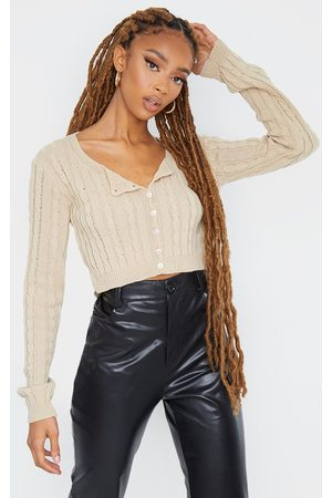 PRETTYLITTLETHING Stone Cable Button Up Cropped Cardigan