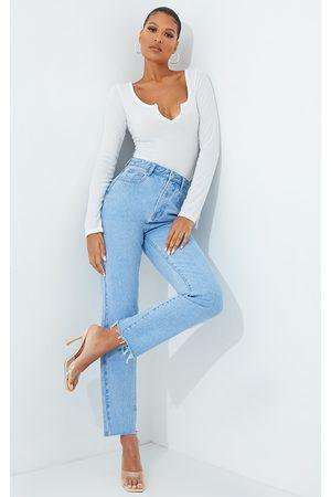 PRETTYLITTLETHING Straight Leg Light Wash Jeans