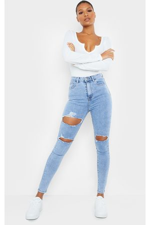 PRETTYLITTLETHING Vintage Wash Double Rip 5 Pocket Skinny Jean