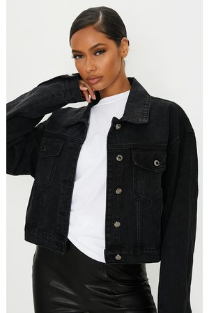 PRETTYLITTLETHING Washed Girlfriend Oversized Denim Jacket