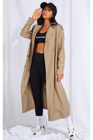 PRETTYLITTLETHING Petite Stone Woven Oversized Trench Coat