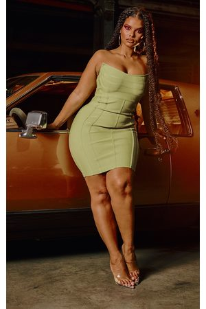 PRETTYLITTLETHING Plus Olive Bandage Pointed Bandeau Panelled Bodycon Dress