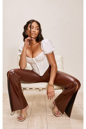 PRETTYLITTLETHING Chocolate Faux Leather Split Front Wide Leg Trousers