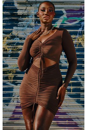 PRETTYLITTLETHING Chocolate Slinky Ruched Front Cut Out Bodycon Dress