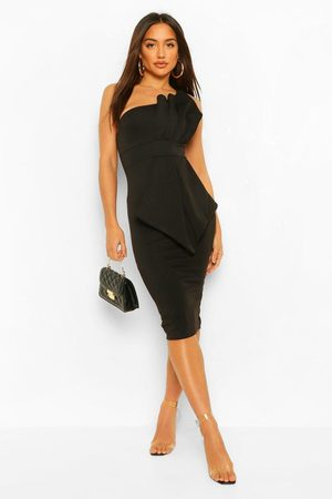 Boohoo Womens One Shoulder Pleated Detail Midi Dress - - 4