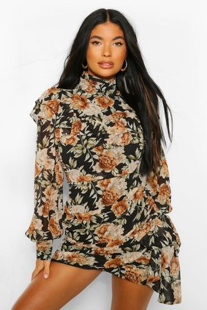 Boohoo Womens Petite Floral High Neck Mini Dress - - 2