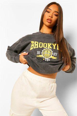 Boohoo Women Sweatshirts - Womens Brooklyn Slogan Oversized Washed Sweatshirt - - L