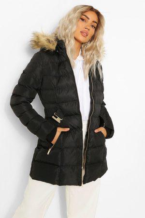 Boohoo Womens Faux Fur Trim Hooded Belted Puffer Coat - - 4