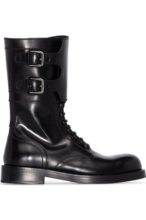 Dolce & Gabbana Polished leather military boots