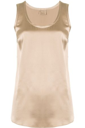 Brunello Cucinelli Women Tank Tops - Silk-satin top