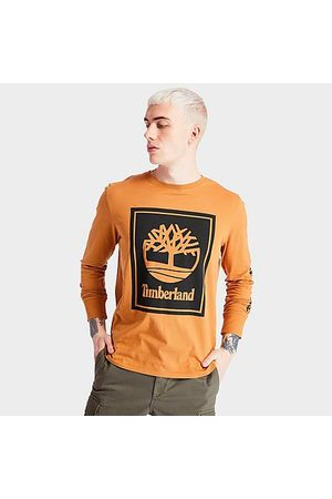 Timberland Men's Stack Logo Long-Sleeve T-Shirt in Size X-Small Cotton