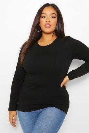 Boohoo Womens Plus Basic Scoop Neck Long Sleeve T-Shirt - - 12