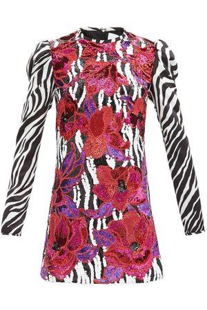 HALPERN Women Party Dresses - Floral-sequinned Zebra-print Satin Mini Dress - Womens - Multi