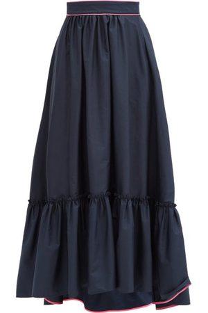 Roksanda Mariana Ruffled-hem Cotton-poplin Skirt - Womens - Navy