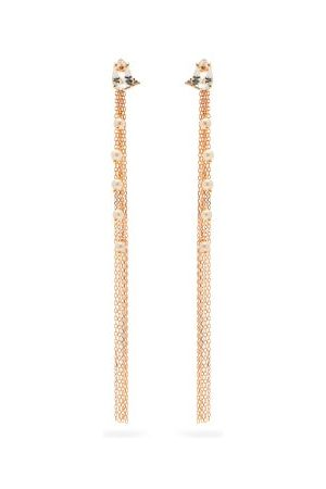Mizuki Diamond, Topaz & 14kt Gold Fringe Earrings - Womens - Pearl
