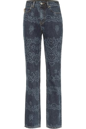 Ganni Printed high-rise straight jeans