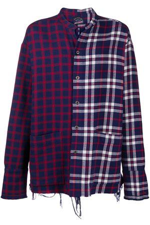 GREG LAUREN Men Shirts - Two-tone hybrid check shirt