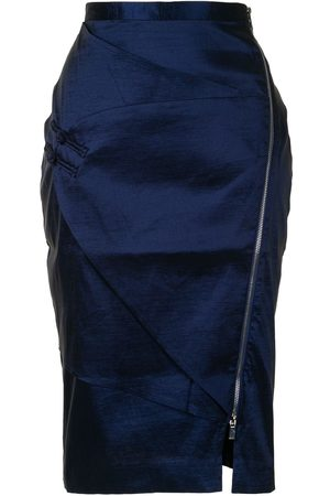 Lisa Von Tang Panelled satin pencil skirt