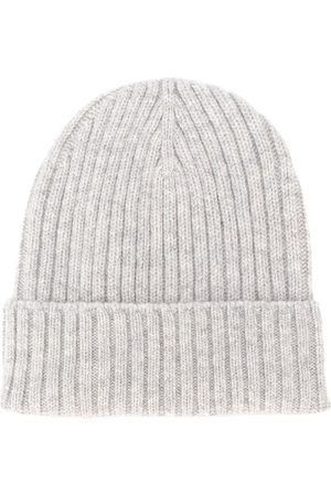 DELL'OGLIO Men Hats - Intarsia knit hat - Grey