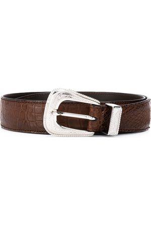 Brunello Cucinelli Crocodile effect buckle belt