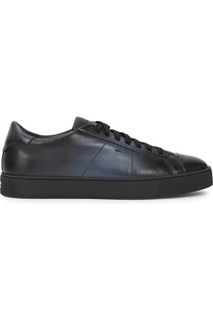 santoni Men Sneakers - Gloria navy leather sneakers
